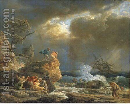 A Mediterranean rocky coastal landscape with survivors from a shipwreck, by a fortified tower by Claude-joseph Vernet - Reproduction Oil Painting