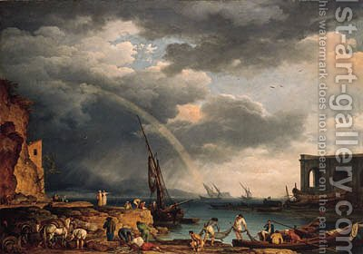 L'Arc en Ciel an Italianate coastal view with a rainbow, fishermen and peasants at an inlet in the foreground, a shipwright's yard beyond by Claude-joseph Vernet - Reproduction Oil Painting