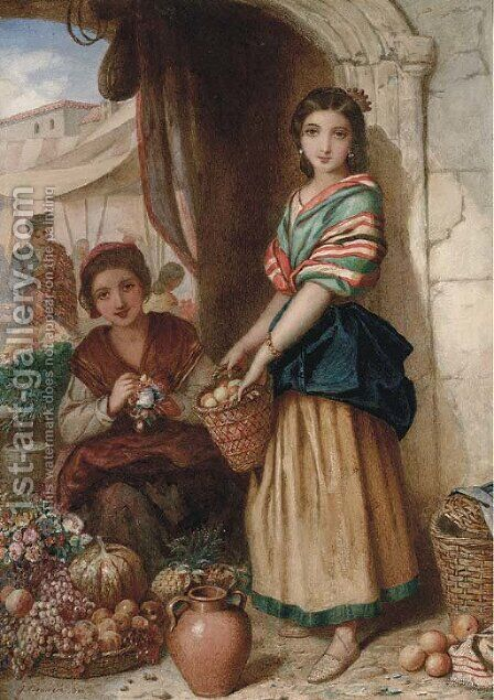 Spanish girls at a market by Augustus Jules Bouvier - Reproduction Oil Painting