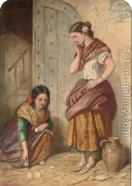 The little gitana by Auguste Jules Bouvier, N.W.S. - Reproduction Oil Painting