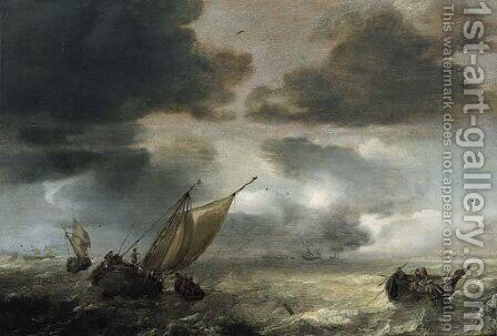A wijdschip lowering sails with fishermen in a rowing boat hauling in their nets, as a storm approaches by Jan Porcellis - Reproduction Oil Painting
