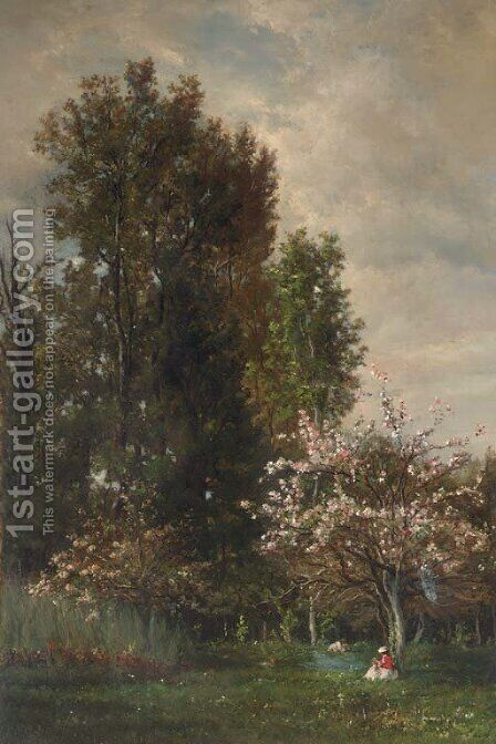 A Figure seated beneath a Cherry Tree by Charles-Francois Daubigny - Reproduction Oil Painting