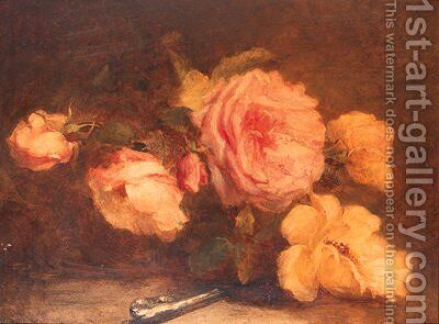 Pink roses by Catherine Bisschop-Swift - Reproduction Oil Painting
