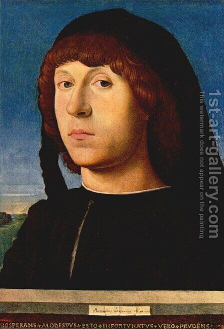 A Young Man 1478 by Antonello da Messina Messina - Reproduction Oil Painting
