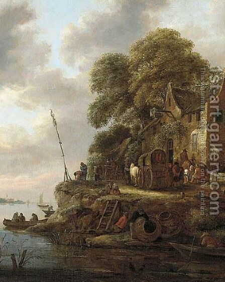 A river landscape with wagons and figures near an inn by Claes Molenaar (see Molenaer) - Reproduction Oil Painting
