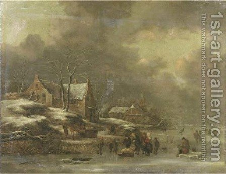 A winter landscape with figures skating on frozen water, a village nearby by Claes Molenaar (see Molenaer) - Reproduction Oil Painting