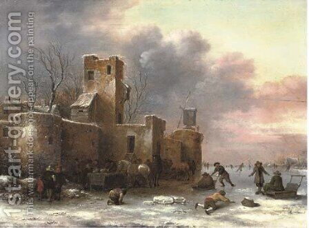 A winter landscape with figures skating outside a city wall by Claes Molenaar (see Molenaer) - Reproduction Oil Painting