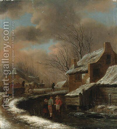 A Winter Landscape with Peasants in a Village, travellers in a cart on a path beyond by Claes Molenaar (see Molenaer) - Reproduction Oil Painting