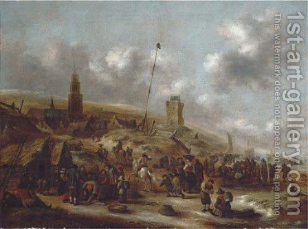 The beach at Scheveningen with fishermen unloading their catch by Claes Molenaar (see Molenaer) - Reproduction Oil Painting