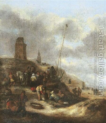 Villagers on the beach near Scheveningen by Claes Molenaar (see Molenaer) - Reproduction Oil Painting