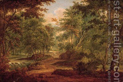 A traveller on a sandy track by a waterfall in a forest by (after) Abraham Govaerts - Reproduction Oil Painting