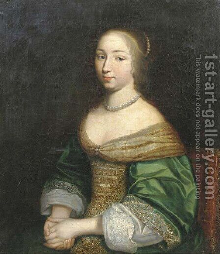 Portrait of a young lady, seated half-length, in a green and gold embroidered dress, with a pearl necklace by (after) Adriaen Hanneman - Reproduction Oil Painting