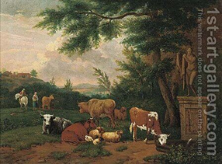 A wooded landscape with cattle and sheep resting by a fountain by (after) Adriaen Van De Velde - Reproduction Oil Painting