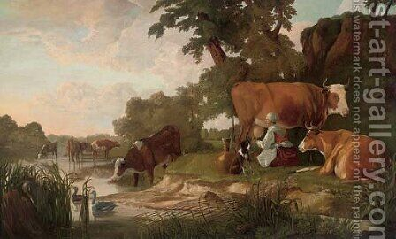 A river landscape with cattle watering and a milkmaid by (after) Aelbert Cuyp - Reproduction Oil Painting
