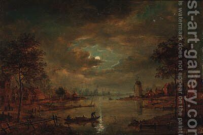 A moonlit river landscape with figures in a boat, a windmill beyond by (after) Aert Van Der Neer - Reproduction Oil Painting