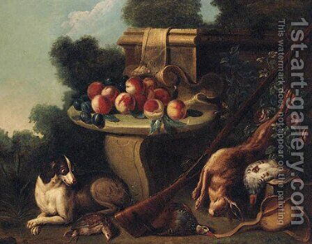 A spaniel guarding dead game by a stone seat laden with fruit by Alexandre-Francois Desportes - Reproduction Oil Painting