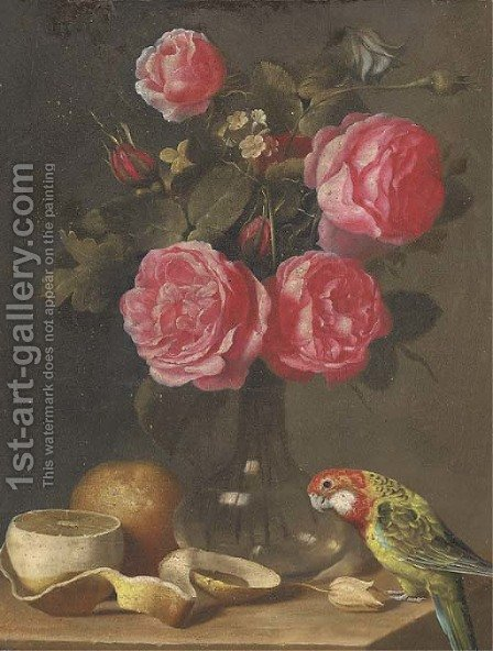 Roses in a glass vase, a partly-peeled lemon and a parrot on a ledge by (after) Ambrosius The Younger Bosschaert - Reproduction Oil Painting