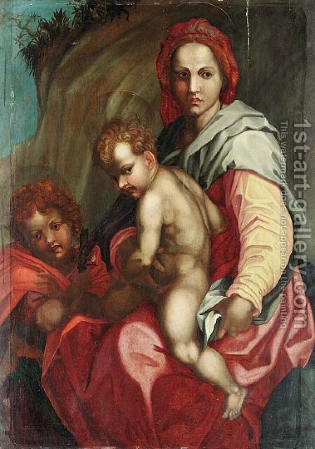 The Madonna and Child with the infant Saint John the Baptist 2 by (after) Andrea Del Sarto - Reproduction Oil Painting