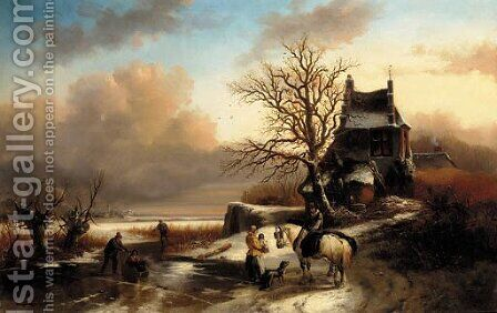 Figures by a cottage in a Dutch winter landscape by (after) Andreas Schelfhout - Reproduction Oil Painting