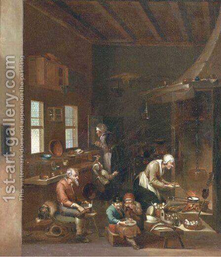 A woman frying pancakes on an open fire, children eating and other figures preparing food in a kitchen by (after) Anthonie Victorijns - Reproduction Oil Painting