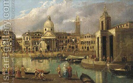 A capriccio of a Venetian canal by (after) Antonio Joli - Reproduction Oil Painting