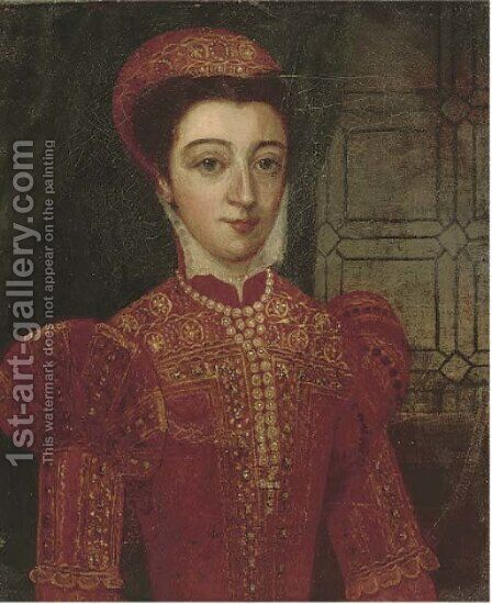 Portrait of a lady, half-length, in a red embroidered doublet and pearls by (after) Antonis Mor - Reproduction Oil Painting
