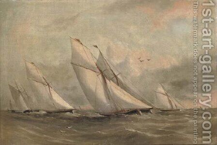 Racing cutters beating to windward by Arthur Wellington Fowles - Reproduction Oil Painting