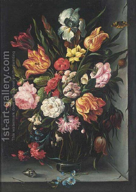 Roses, tulips, carnations, morning glory and other flowers in a glass vase with a butterfly, a snail and a shell on a ledge by (after) Balthasar Van Der Ast - Reproduction Oil Painting