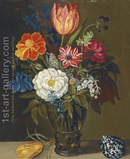 Mixed flowers in a glass vase, with a parrot tulip and a shell on a ledge by (after) Balthasar Van Der Ast - Reproduction Oil Painting