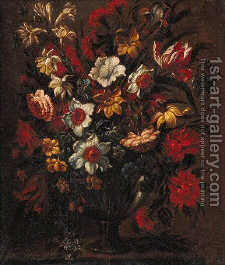 Tulips, daffodils, roses, carnations and other flowers in a vase, on a stone ledge by (after) Bartolome Perez - Reproduction Oil Painting