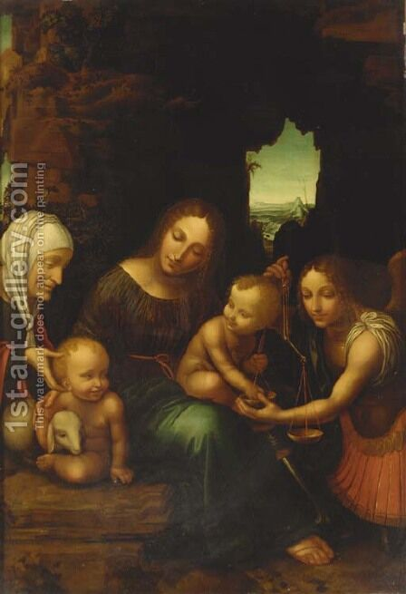 The Madonna and Child with the Infant Saint John the Baptist, Saint Elizabeth and the Archangel Michael by Bernardino Luini - Reproduction Oil Painting