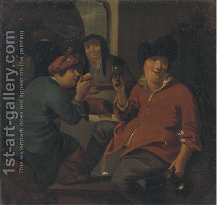 Boors making merry and drinking in an interior by (after)  Bernardus Van Scheyndel - Reproduction Oil Painting