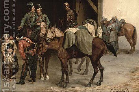 Hussars befriending the locals by (after) Bogdan Pavlovich Villevalde - Reproduction Oil Painting