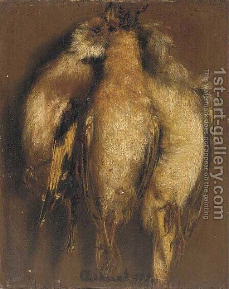 Three dead finches hanging on a nail by (after) Carel Fabritius - Reproduction Oil Painting