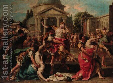 The Rape of the Sabines by (after) Carlo Carlone - Reproduction Oil Painting