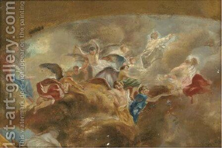 Design for an allegorical ceiling painting by (after) Carlo Innocenzo Carloni - Reproduction Oil Painting