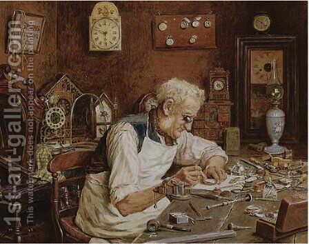 The watchmaker by Charles Spencelayh - Reproduction Oil Painting