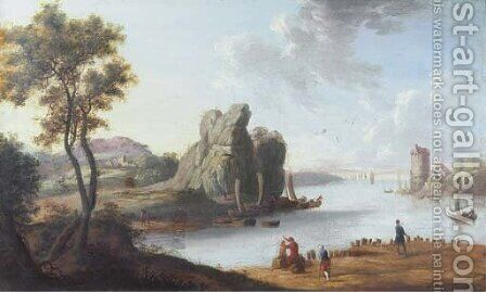 A Mediterranean landscape with a harbour, strolling figures in the foreground by (after) Charles Francois Lacroix De Marseille - Reproduction Oil Painting