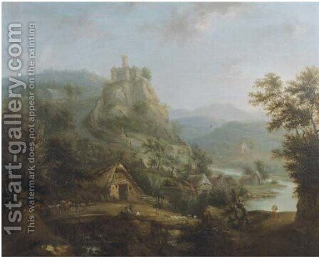 An extensive mountain river landscape with a bridge and peasants in a village by a river, a castle in the distance by (after) Christian Cornelis Schutz - Reproduction Oil Painting
