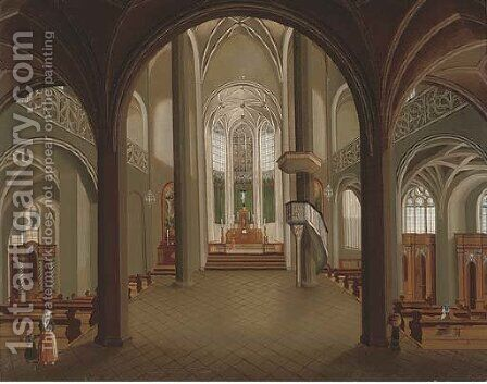 The interior of a Gothic church with figures by the pews by (after) Christian Stocklin - Reproduction Oil Painting