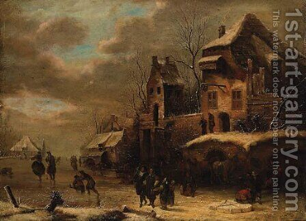 Figures on a frozen Waterway by a Town by (after) Claes Molenaar (see Molenaer) - Reproduction Oil Painting