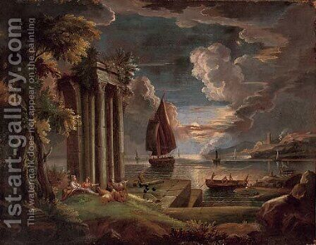 A Mediterranean coastal landscape at twilight with shepherdesses and their goats at rest by classical ruins, shipping beyond by Claude Lorrain (Gellee) - Reproduction Oil Painting