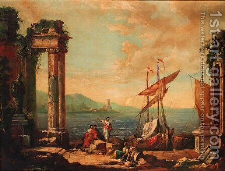 Figures resting by a ruined temple on a quay by (after) Claude Lorrain (Gellee) - Reproduction Oil Painting