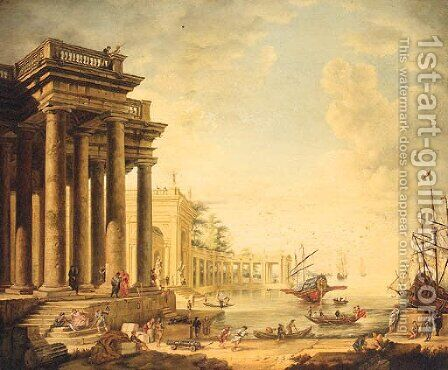 A Neoclassical Capriccio Of Figures On A Quay By A Loggia by (after) Claude Lorrain (Gellee) - Reproduction Oil Painting
