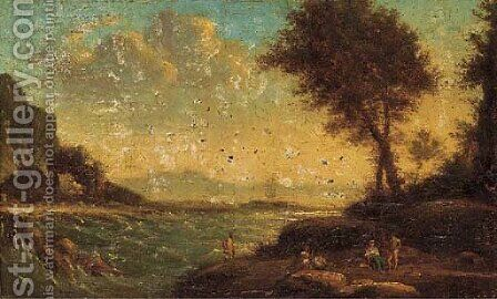 Figures resting by the shore by Claude Lorrain (Gellee) - Reproduction Oil Painting