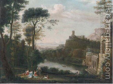 A classical landscape with figures above a lake by Claude Lorrain (Gellee) - Reproduction Oil Painting