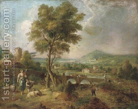 Figures in an Italianate landscape by (after) Claude Lorrain - Reproduction Oil Painting