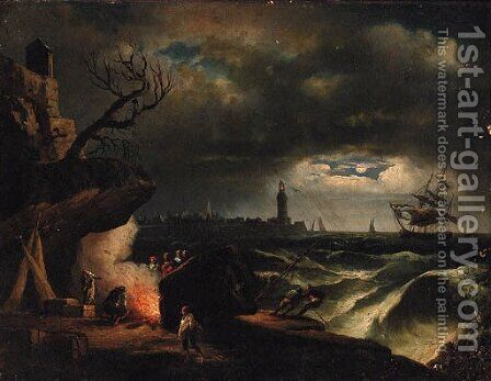 A moonlit coastline with a yacht in a storm near a lighthouse and fisherfolk around a fire in the foreground by (after) Claude-Joseph Vernet - Reproduction Oil Painting