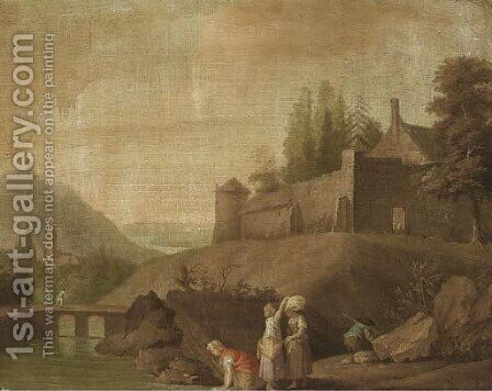 A river landscape with washerwomen in the foreground, a walled village beyond by (after) Claude-Joseph Vernet - Reproduction Oil Painting