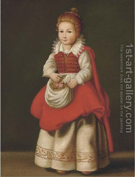 Portrait of a young girl, full-length with flowers in her apron by Cornelis De Vos - Reproduction Oil Painting